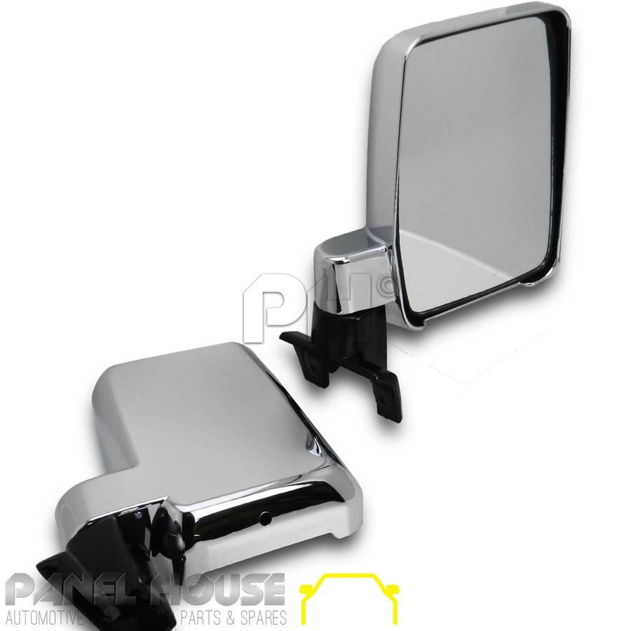 Door Mirror Pair Chrome Wagon Fits Toyota 76 78 79series