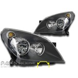 Holden AH Astra '04-'06 NEW Pair LH+RH Replacement BLACK Head Light ADR Lamps