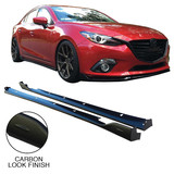 NEW Mazda 3 BM Hatch Sedan '14- Side Skirt Lower Lip PAIR KUROI Carbon LHS RHS