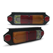 Universal Tray Back Ute Red Amber Clear Tail Lights With Bracket PAIR LH+RH