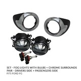 NEW Ford Falcon FG 08-11 Fog Lamp Driving Light SET + Chrome Trim Covers & Bulbs