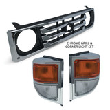 Grill + Corner Lights PAIR Chrome Fits Toyota Landcruiser 70 78 79 Series 99-07