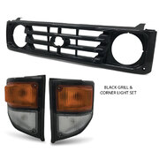 Grill + Corner Lights PAIR Black Fits Toyota Landcruiser 78 79 Series 1999-2007