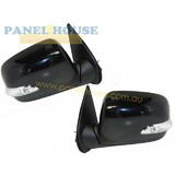 Door Mirrors PAIR Black Electric Crystal Indicator fits Holden Rodeo RA 03-06