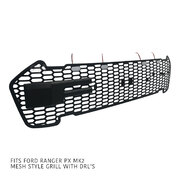 Mesh LED Grill Black F Style fits Ford Ranger MK2 PX2 Raptor XLT Wildtrak 2015-2018