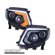 Black Projector Headlights DRL Style Park LED Indicator fits Ford Ranger PX MK1
