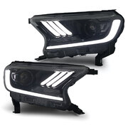 Black Headlights PAIR LED Sequential Indicator fits Ford Ranger PX2 MK2 Everest 15-19