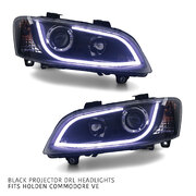 Black Headlights PAIR DRL Style Projector fits Holden Commodore VE 2007-2010