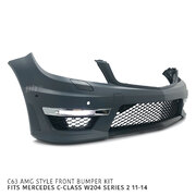 Front Bumper Kit AMG C63 Style Fits Mercedes C-Class W204 Series 2 11-14