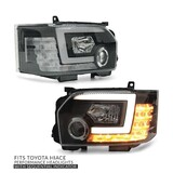 Headlights PAIR DRL Style with Sequential Indicator fits Toyota Hiace 2014-2019