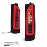 Tail Lights PAIR Full LED Black Smoked fits Toyota Hiace 2005 - 2019