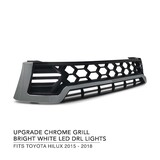 Grill Chrome LED DRL Style Lights Fits Toyota Hilux 2015-2018 N80 SR5 Workmate