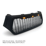 Grill Black Edition Upgrade Mesh DRL Fits Toyota Hilux SR5 Rogue TRD 2018-2020