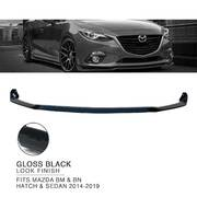 Front Bumper Bar Lower Lip BLACK Finish for Mazda 3 BM BN Hatch Sedan