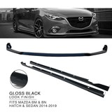 Front Bumper Lower Lip & Side Skirts BLACK Finish For Mazda 3 BM BN Hatch Sedan