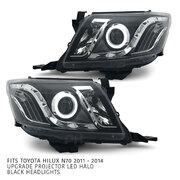 PRE-ORDER Headlights Black LED DRL Halo Projector PAIR Fits Toyota Hilux N70 06/2011-2014