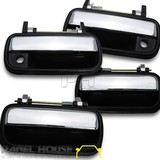 Door Handle SET OF 4 Outer Front and Rear Chrome Black Fits Toyota Hilux 97-01