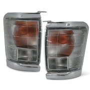 Indicator Lights PAIR Front Cnr Park Chrome Trim Fits Toyota Hilux 2WD 97-01