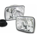 Headlights PAIR 7x5 Rectangle Semi Sealed Crystal Beam Fits Mitsubishi Triton MK