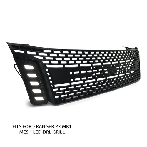LED DRL Mesh Style Upgrade Black Grill BLACK LETTERS Fits Ford Ranger PX1 MK1 XLT XL Wildtrak