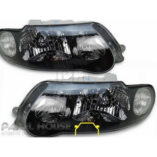Headlights PAIR Black SS Style fits Holden Commodore VX VU 00-02 Sedan Wagon Ute