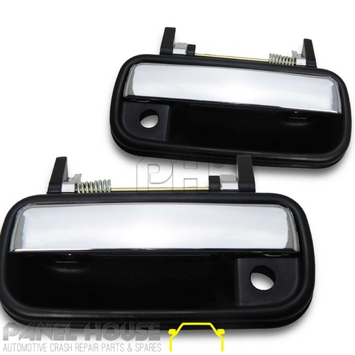 Door Handle PAIR Outer Front Chrome & Black Fits Toyota Hilux 88-97 Ute