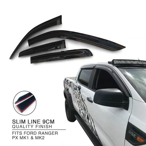 Weather Shield Window Visors SET Fits Ford Ranger PX MK1 MK2 Raptor Wildtrak
